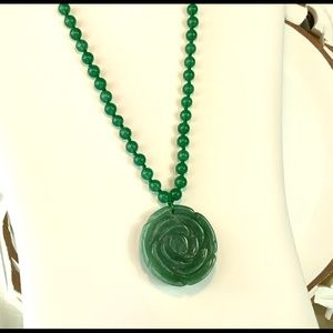 Carved Green Aventurine Necklace